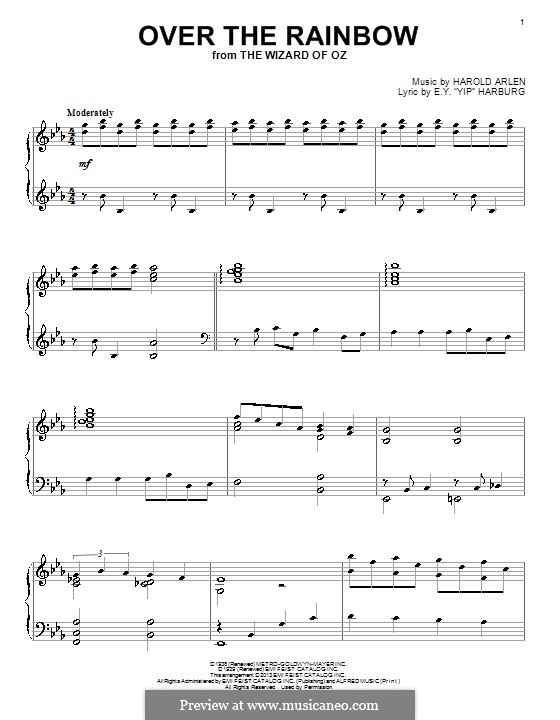 Over the Rainbow (from The Wizard of Oz): For piano by Harold Arlen