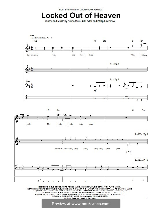 Locked Out of Heaven: For bass guitar with tab by Ari Levine, Bruno Mars, Philip Lawrence