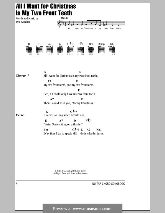 All I Want for Christmas Is My Two Front Teeth: Lyrics and chords (Spike Jones & The City Slickers) by Don Gardner