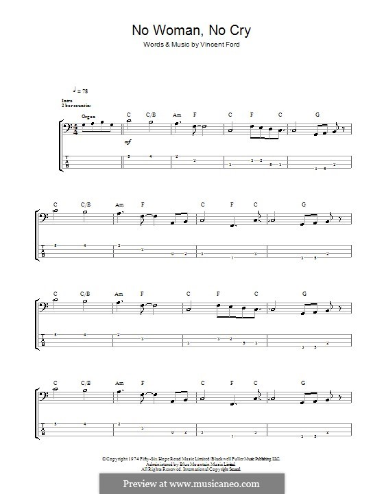 No Woman No Cry (Bob Marley): For bass guitar with tab by Vincent Ford