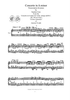Concerto for Violin and Strings No.6 in A Minor, RV 356: Transcription for piano by Antonio Vivaldi