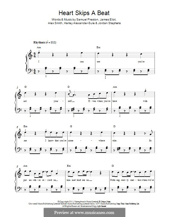 Heart Skips a Beat (Olly Murs): For piano by Alex Smith, James Eliot, Samuel Preston