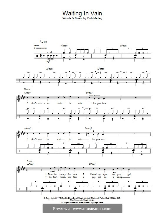 Waiting In Vain By B Marley Sheet Music On Musicaneo