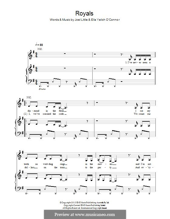 Royals (Lorde) by E. Yelich-O\'Connor, J. Little - sheet music on ...