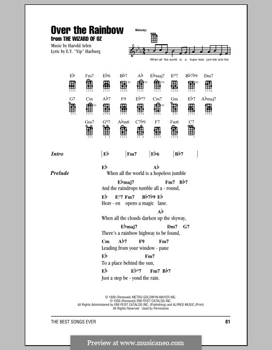 Over the Rainbow (from The Wizard of Oz): Lyrics and chords by Harold Arlen