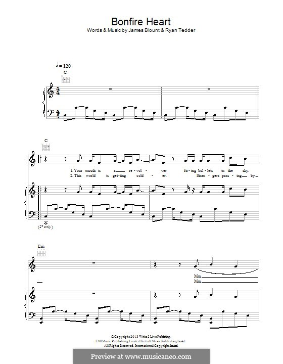 Bonfire Heart: For voice and piano (or guitar) by James Blunt, Ryan B Tedder
