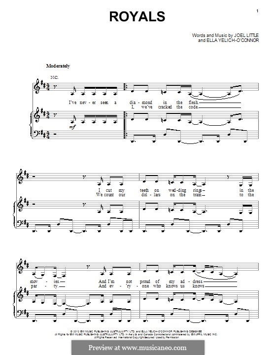 Royals (Lorde): For voice and piano (or guitar) by Ella Yelich-O'Connor, Joel Little