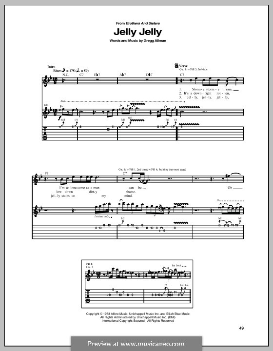 Jelly Jelly: For guitar with tab by Gregg Allman