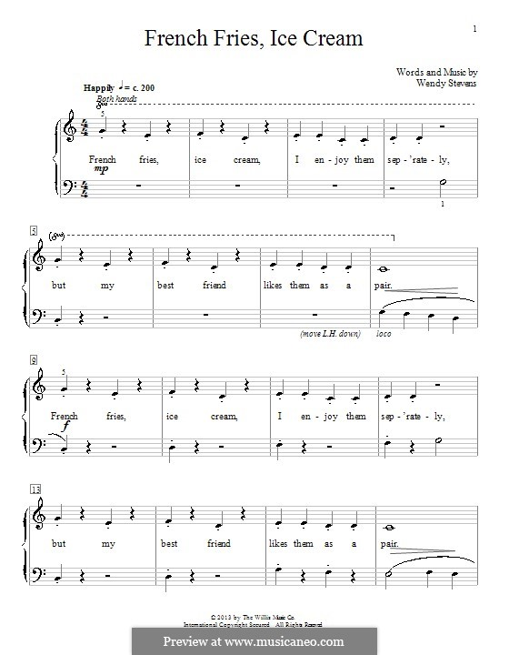French Fries, Ice Cream: For piano by Wendy Stevens