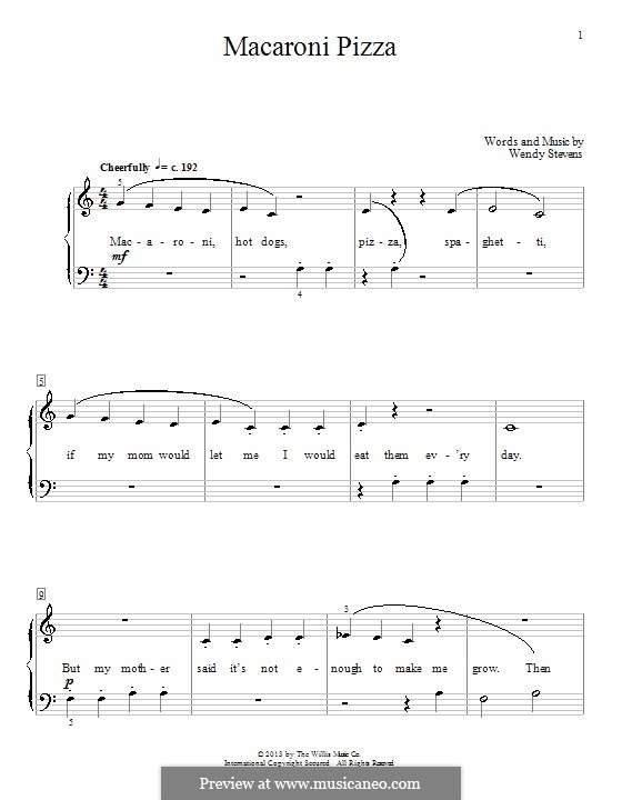 Macaroni Pizza: For piano by Wendy Stevens