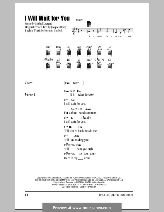 I Will Wait For You By M Legrand Sheet Music On Musicaneo