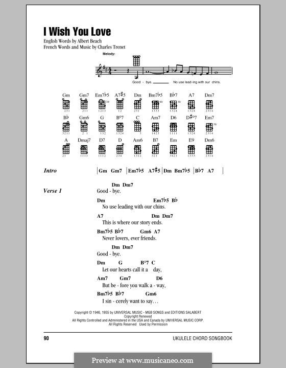 I Wish You Love: For ukulele by Charles Trenet