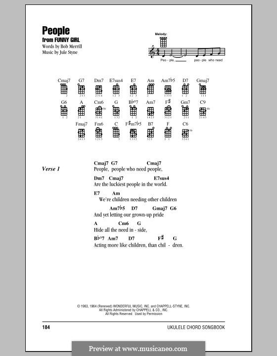 People from Funny Girl (Barbra Streisand): For ukulele by Jule Styne