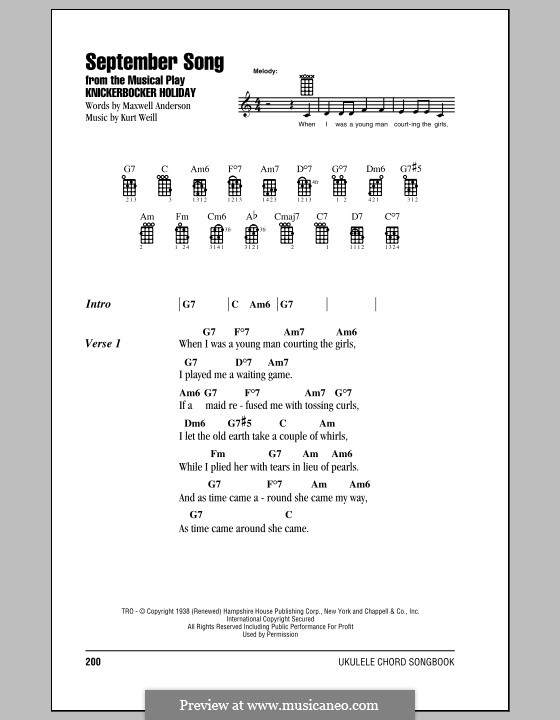 September Song: For ukulele by Kurt Weill