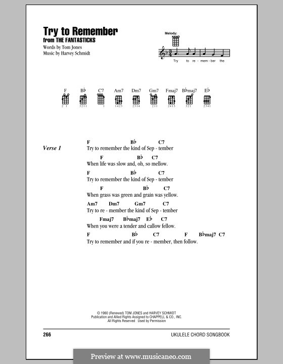 Try To Remember Jerry Orbach By H Schmidt Sheet Music On Musicaneo