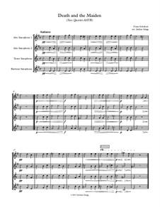 Death and the Maiden, D.531 Op.7 No.3: For sax quartet AATB by Franz Schubert
