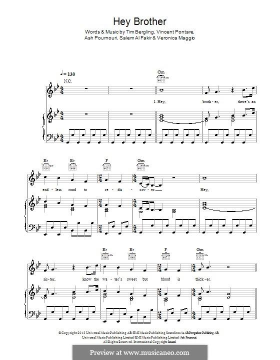 Hey Brother: For voice and piano (or guitar) by Avicii, Arash Andreas Pournouri, Vincent Pontare, Salem Al Fakir, Veronica Maggio