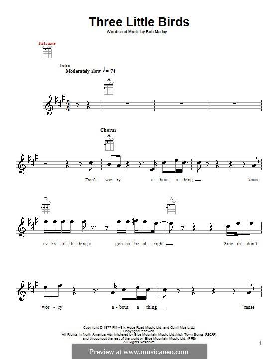 Ukulele ukulele chords three little birds : Three Little Birds by B. Marley - sheet music on MusicaNeo