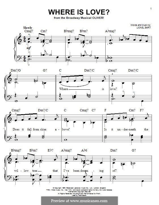 Where Is Love?: For piano by Lionel Bart
