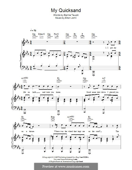 My Quicksand: For voice and piano (or guitar) by Elton John