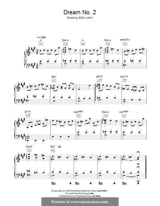 Dream No.2 (Instrumental): For piano by Elton John