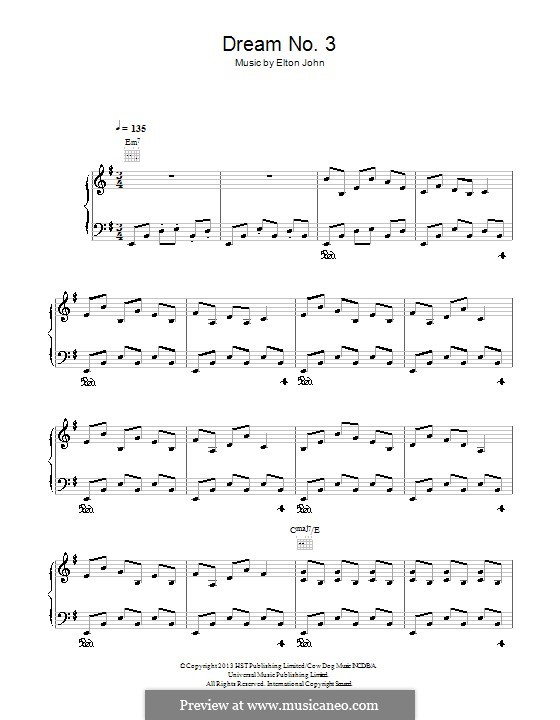 Dream No.3 (Instrumental): For piano by Elton John