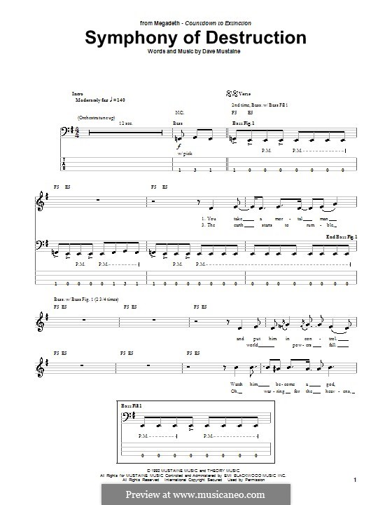 Symphony of Destruction (Megadeth): For bass guitar with tab by Dave Mustaine