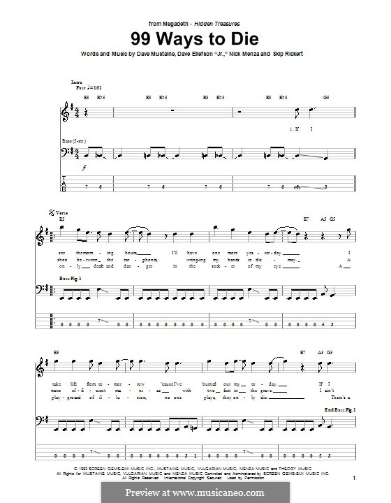 99 Ways to Die (Megadeth): For bass guitar with tab by Dave Ellefson, Dave Mustaine, Nick Menza