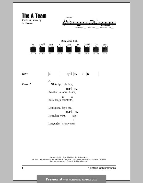 The A Team By E Sheeran Sheet Music On Musicaneo