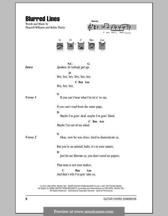 Blurred Lines: Lyrics and chords by Clifford Harris, Pharrell Williams, Robin Thicke