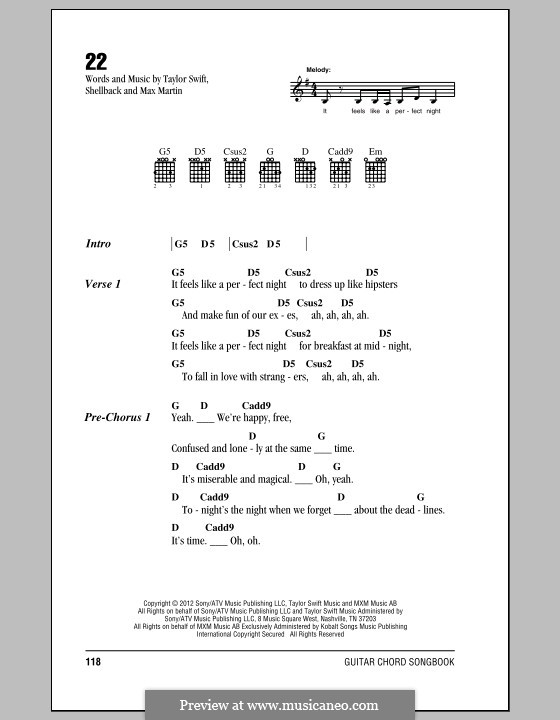22: Lyrics and chords by Taylor Swift