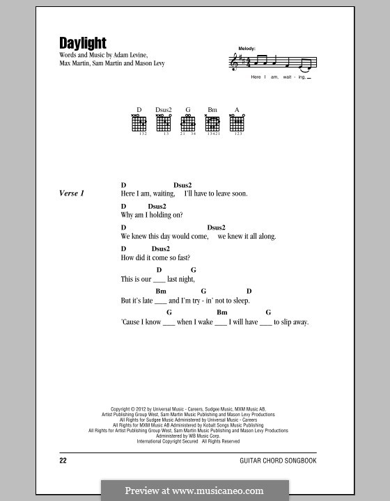 Daylight (Maroon 5): Lyrics and chords by Adam Levine, Mason Levy, Max Martin, Sam Martin