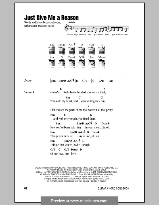 Just Give Me a Reason (Pink): Lyrics and chords by Alecia Moore, Jeff Bhasker, Nathaniel Ruess