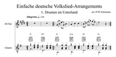 Drunten im Unterland: For alto saxophone and guitar by folklore