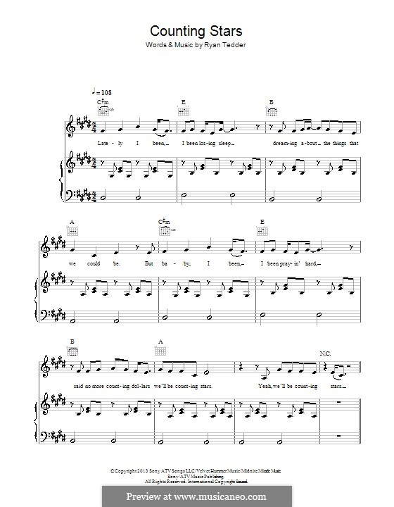 Counting Stars (One Republic): For voice and piano (or guitar) by Ryan B Tedder