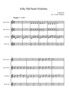 Jolly Old Saint Nicholas and Good King Wenceslas for Orff Orchestra: Jolly Old Saint Nicholas and Good King Wenceslas for Orff Orchestra by folklore, Unknown (works before 1850)