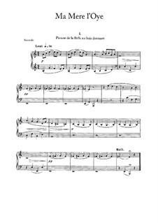 Ma mère l'oye (Mother Goose). Suite, M.60: For piano four hands – parts by Maurice Ravel