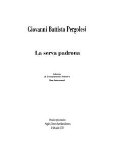 La serva padrona (The Servant Turned Mistress): Piano-vocal score by Giovanni Battista Pergolesi