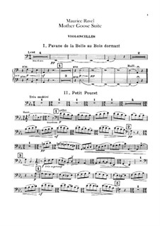 Ma mère l'oye (Mother Goose). Suite, M.60: For orchestra – cellos part by Maurice Ravel