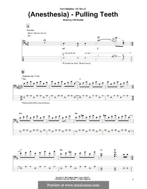 (Anesthesia) Pulling Teeth (Metallica): For bass guitar with tab by Cliff Burton