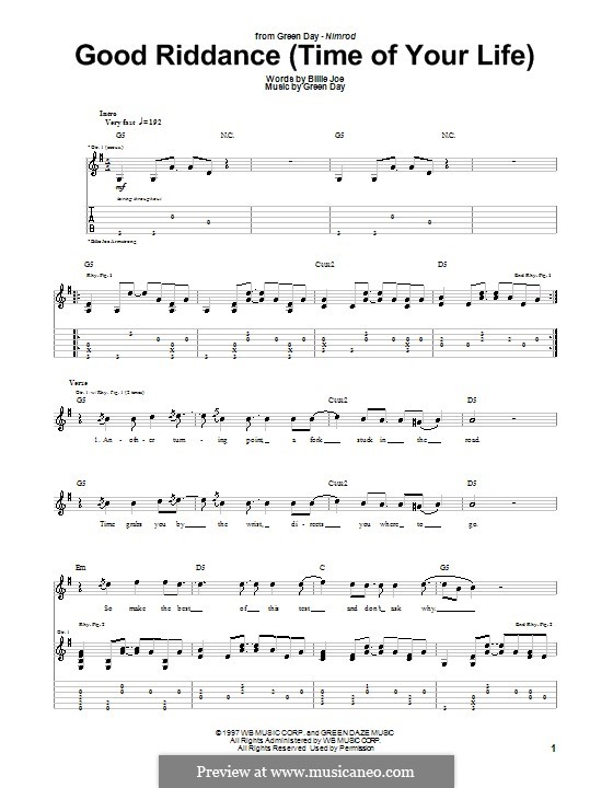 Good Riddance (Time of Your Life): For guitar with tab by Billie Joe Armstrong, Tré Cool, Michael Pritchard