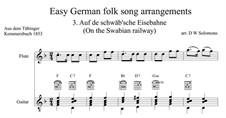 Auf de Schwäb'sche Eisebahne: For flute and guitar by folklore