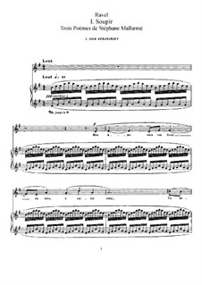 Three Poems of Stéphane Mallarmé, M.64: Piano-vocal score by Maurice Ravel