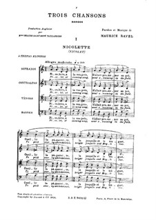 Three Songs, M.69: Vocal score by Maurice Ravel