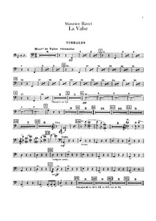 La valse. Choreographic Poem for Orchestra, M.72: Percussion parts by Maurice Ravel