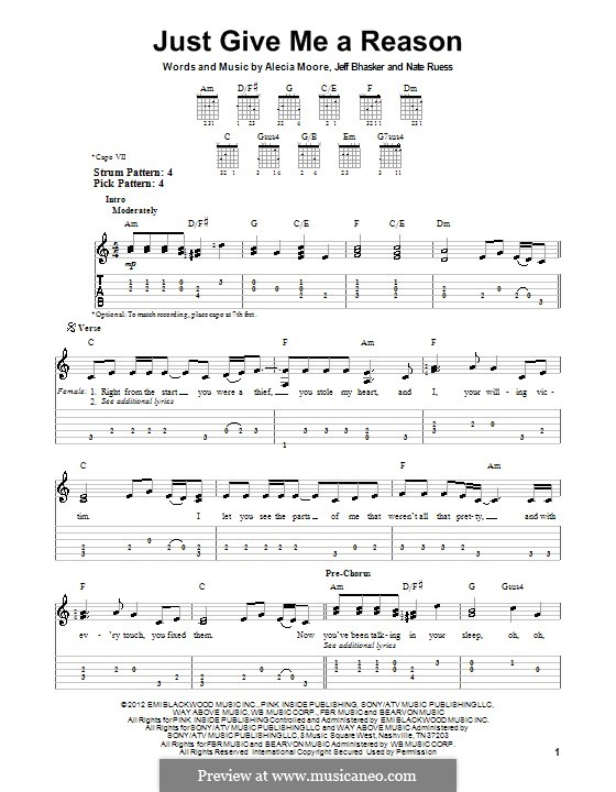 Just Give Me a Reason (Pink): For guitar with tab by Alecia Moore, Jeff Bhasker, Nathaniel Ruess