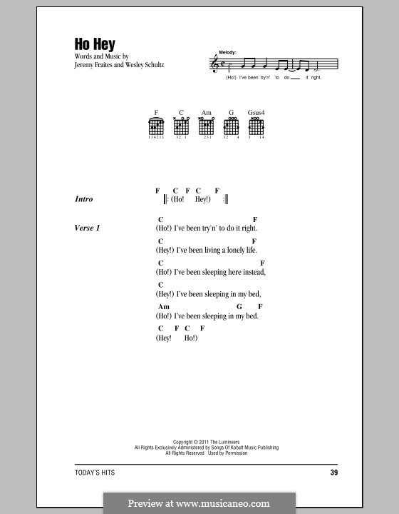 Ho Hey (The Lumineers): Lyrics and chords by Jeremy Fraites, Wesley Schultz
