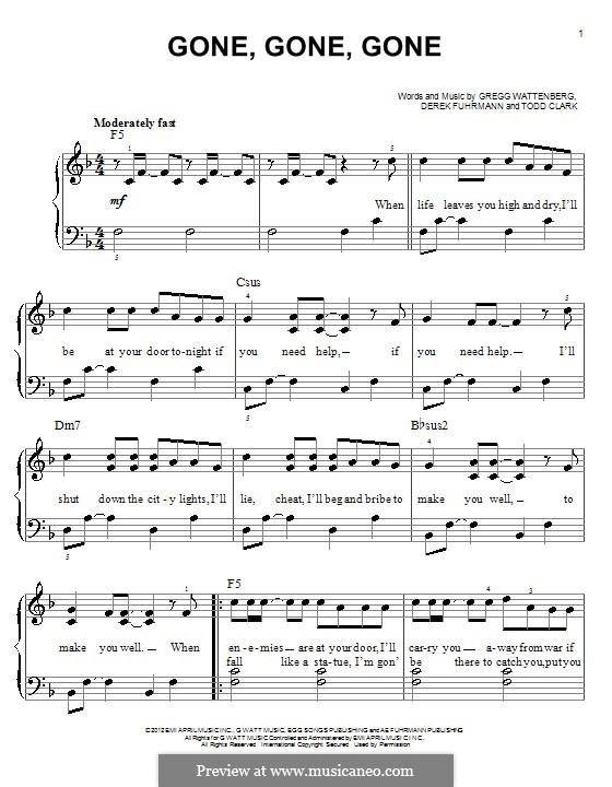 Gone, Gone, Gone: For piano by Gregg Wattenberg, Derek Fuhrmann