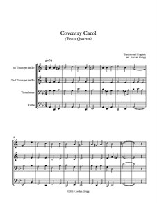 Coventry Carol: For brass quartet by folklore