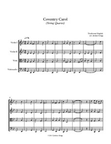 Coventry Carol: For string quartet by folklore